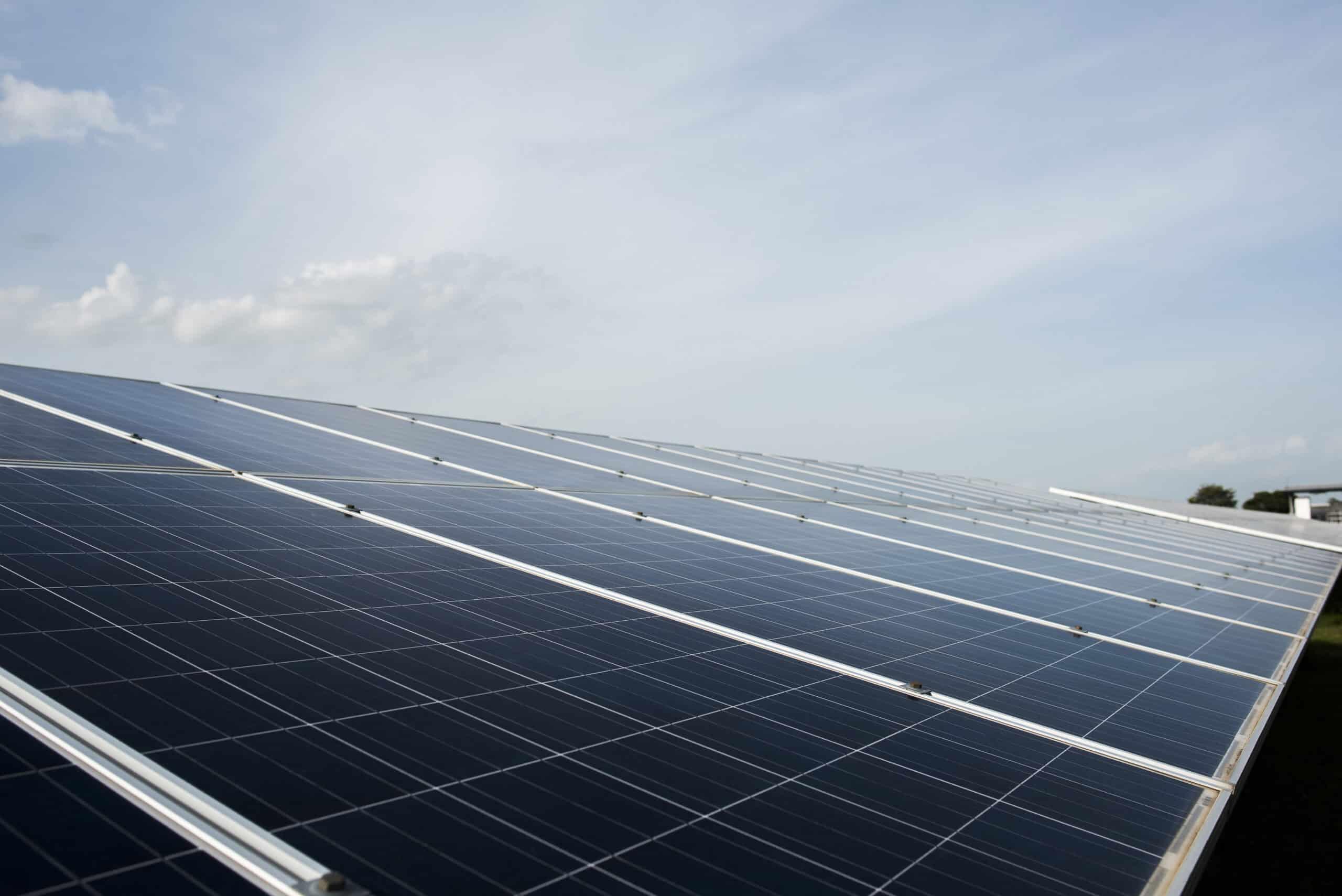 Solar cell farm in power station for alternative energy from the sun